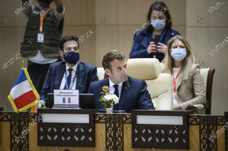 French President Emmanuel Macron during a meeting with the presidents of the G5 Sahel and (in visioconference German Chancelor Angela Merkel, Italian Prime Minister Giuseppe Conte and Belgian Prime Minister Charles Michel in Nouakchott, Mauritania on June 30, 2020.