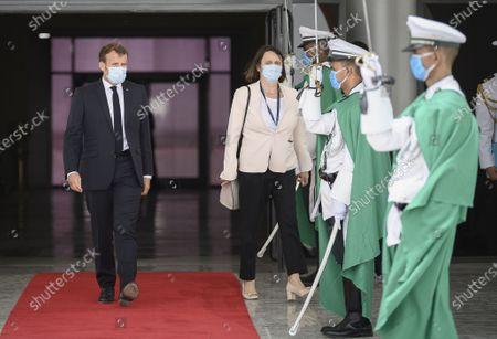 French President Emmanuel Macron arrives at Nouakchott Airport in Nouakchott, Mauritania