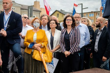Stock Picture of Local politicians; Janusz Lewandowski, Jacek Karnowski, Malgorzata Chmiel, Aleksandra Dulkiewicz and Piotr Adamowicz are seen during  Rafal Trzaskowski presidential support rally in Kartuzy. Rafal Trzaskowski has 30.34 percent support in the first round of presidential elections in Poland. Trzaskowski will come up against the current president of Poland and candidate Andrzej Duda in the second round of presidential elections scheduled for July 12 who gained 43.67 percent of support in the first round.