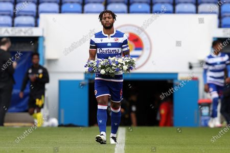 Liam Moore, Captain of Reading FC lays a wreath to honour the lives of Joe Ritchie-Bennett aged 39, David Wails aged 49 & James Furlong aged 36 who lost their lives in the attack at Forbury Gardens on Saturday June 20 2020.