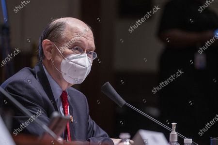 Rep. Brad Sherman (D-CA) asks questions to Federal Reserve Chair Jerome H. Powell and U.S. Secretary of the Treasury Steven Mnuchin as they testify before the House Financial Services Committee on his department's response to the coronavirus pandemic, on Capitol Hill, in Washington, DC, USA, 30 June 2020.