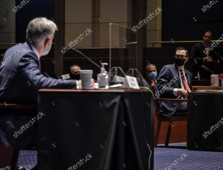 Fed Chair Jerome Powell, left, and Treasury Secretary Stephen Mnuchin during the House Committee on Financial Services hearing on Oversight of the Treasury Department and Fed Reserve Pandemic response in Washington, DC, USA, 30 June 2020.