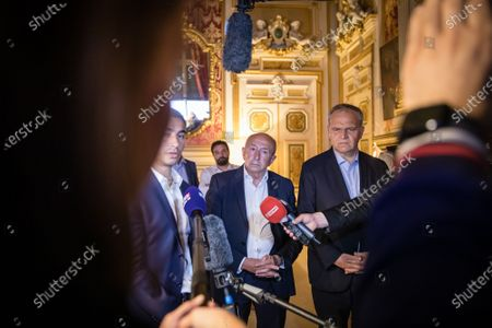 Gerard Collomb outgoing Mayor of Lyon addresses journalists following the results of the France municipal elections' second round, in Lyon. France, Lyon, June 28, 2020.