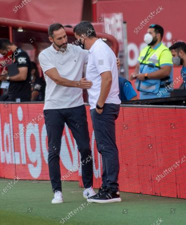 RCD Mallorca's head coach Vicente Moreno Peris (L) greets Celta de Vigo's head coach Oscar Garcia at the emd of the Spanish LaLiga soccer match between RCD Mallorca and Celta de Vigo at Palma Mallorca, Balearic Islands, Spain, 30 June 2020.
