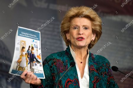 Sen. Debbie Stabenow, D-Wis., speaks during a news conference on Capitol Hill, in Washington