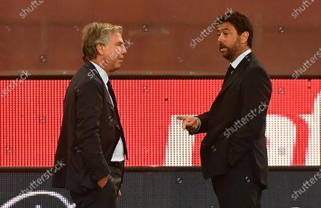 Genoa CFC's president  Enrico Preziosi (L) and Juventus FC's president Andrea Agnelli prior to the Italian Serie A match between Genoa CFC and Juventus FC at Luigi Ferraris stadium in Genoa, Italy, 30 June 2020.