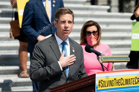 U.S. Representative, Mike Levin (D-CA) speaking at a press conference by the House Select Committee on the Climate Crisis for the unveiling of a climate crisis action plan at the U.S. Capitol.