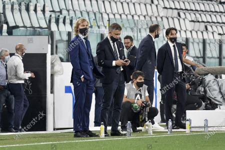 Turin. Lega match Serie A Tim 2019/2020. Juventus Vs Lecce behind closed doors for the covid19 emergency. Allianz Stadium In the picture: Pavel Nedved Fabio Paratici