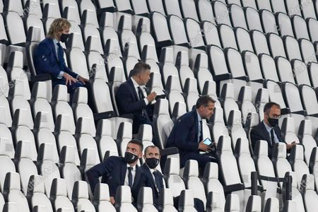 Turin. Lega match Serie A Tim 2019/2020. Juventus Vs Lecce behind closed doors for the covid19 emergency. Allianz Stadium In the picture: Pavel Nedved Fabio Paratici Giorgio Chiellini