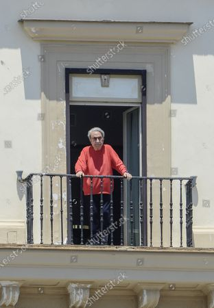 Editorial picture of Emilio Fede out on his balcony, Naples, Italy - 24 Jun 2020