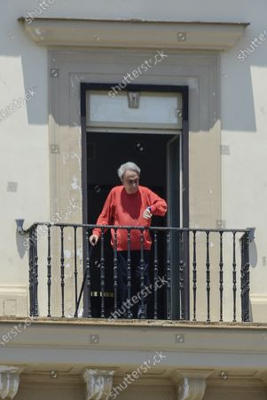 Editorial photo of Emilio Fede out on his balcony, Naples, Italy - 24 Jun 2020