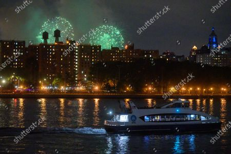 Second night of Macy's fireworks display over the Empire State Building for the 4th of July week in New York. The City decided not to declare the time and locations of firework displays to public due to Covid-19 measures.