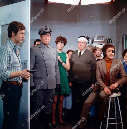 Joel Fabiani as Stewart Sullivan, Stanley Beard as Yates,  Rosemary Nicols as Annabelle Hurst, Peter Lawrence as Harry Lewis and Peter Wyngarde as Jason King