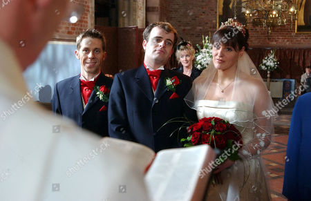 Coronation Street - Ep 5695 Wednesday 18th February 2004 Karen and Steve's Wedding - Andy, as played by Nick Cochrane, Steve, as played by Simon Gregson, Karen, as played by Suranne Jones.