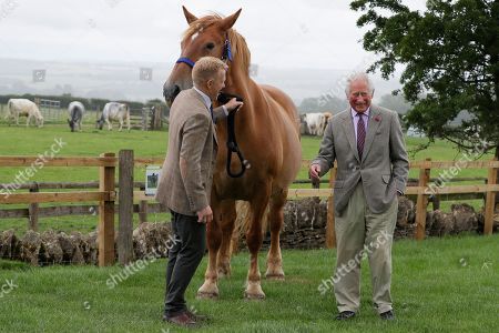 Britain's Prince Charles, right, is introduced to Victoria, a Suffolk Punch horse by farmer and television personality Adam Henson, left, during a visit to Cotswold Farm Park in Guiting Power near Cheltenham, England, Wednesday, July 1, 2020. The visit to Cotswold Farm Park highlights the important work that these farm parks do in preserving British native breeds, encouraging visitors to return to them when they re-open and go back regularly throughout the year to watch the animals change and grow.