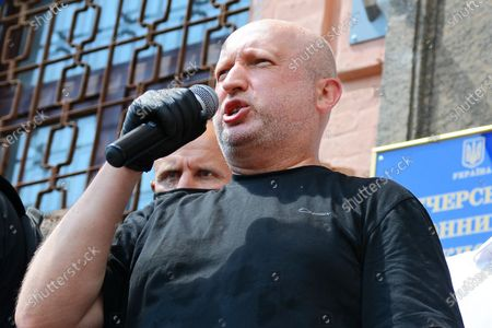 KYIV, UKRAINE - 1 JULY 2020: Oleksandr Turchynov speaks into the microphone outside the Pechersk district court which will choose measures of restraint for Petro Poroshenko in the case of designation of Serhii Semochko to a post of Deputy Head of the Foreign Intelligence Service