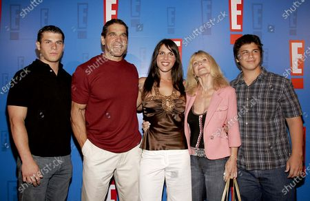 Lou Ferrigno with family (Lt.-Rt.) Lou, Shanna, wife Carla and Brent arrive at E! Entertainment Television's Summer Splash Event at Amanda Scheer Demme's Tropicana Bar at the Roosevelt Hotel in Hollywood, CA