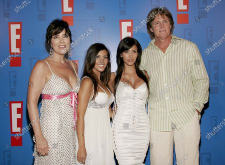 Bruce Jenner with family, (Lt.-Rt.) wife, Kris, daughters, Kourtney and Kimberly arrive at E! Entertainment Television's Summer Splash Event at Amanda Scheer Demme's Tropicana Bar at the Roosevelt Hotel in Hollywood, CA