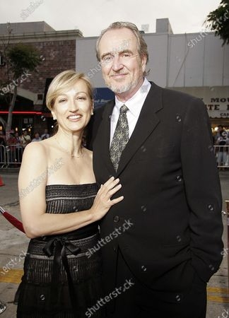 Wes Craven with wife, Iya Labunka arrives at the Red Eye Premiere at the Mann Bruin Theater in Westwood, CA