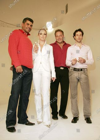 Artisitic Director, Mike Ruiz, Traci Lords, Co-Founders of Duprey Cosmetics, Jim Duprey and Brian Duprey on the set of the hot new ad spot for Duprey Cosmetics 2005 advertising campaign, filmed at Miauhaus studios in Los Angeles, CA