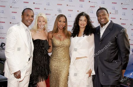 Sugar Ray Leonard, Designer, Pamela Dennis, Holly Robinson Peete, Bernadette Leonard and Rodney Peete arrive at Hollyrod's 7th Annual Design Cure Benefit Fashion Show at the Home of Sugar Ray Leonard in Pacific Palisades, CA