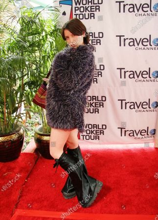 Stock Image of Kestrin Pantera arrives at the World Poker Tour Invitational celebrity poker match at the Commerce Casino in Commerce, CA.