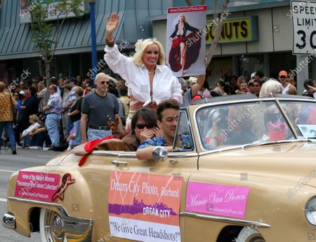Mamie Van Doren, legendary burlesque artist, appears at the Gay Pride parade, part of the Christopher Street West festivities, in West Hollywood, CA.