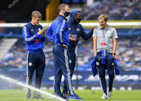 (L-R) Jamie Vardy, Jonny Evans, Wes Morgan and Marc Albrighton of Leicester on the field ahead of the English Premier League match between Everton FC and Leicester City in Liverpool, Britain, 01 July 2020.