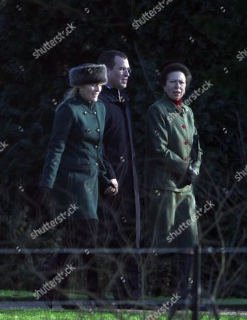 Princess Anne [ right] with her son Peter Philips and his wife Autumn