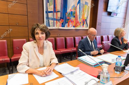 Stock Photo of Former French Health and Social Affairs Marisol Touraine and Eric Ciotti during her audition by the Parliament Commission investigating the coronavirus crisis response at the French National Assembly.