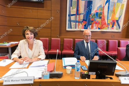 Former French Health and Social Affairs Marisol Touraine and Eric Ciotti during her audition by the Parliament Commission investigating the coronavirus crisis response at the French National Assembly.