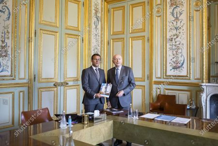French President Emmanuel Macron meets French Ombudsman (Defenseur des droits) Jacques Toubon at Elysee Palace in Paris on june 15, 2020.