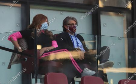 West Ham United Vice-chairman Karren Brady (L) during the English Premier League match between West Ham United and Chelsea in London, Britain, 01 July 2020.