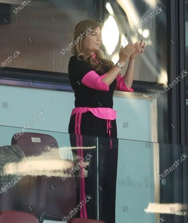 West Ham United Vice-chairman Karren Brady applauds the team during the English Premier League match between West Ham United and Chelsea in London, Britain, 01 July 2020.