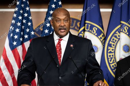 U.S. Representative Dwight Evans (D-PA) speaks at a press conference of the Congressional Black Caucus.