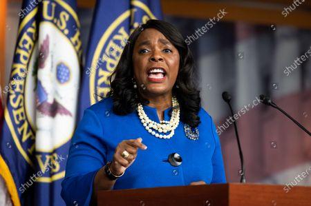 U.S. Representative Terri Sewell (D-AL) speaks at a press conference of the Congressional Black Caucus.