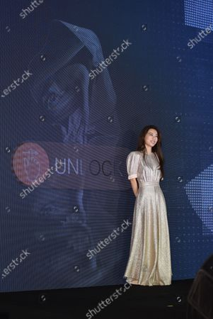 Taiwanese singer and actress Hebe Tien attends a press conference for her upcoming live concert tour promotion.