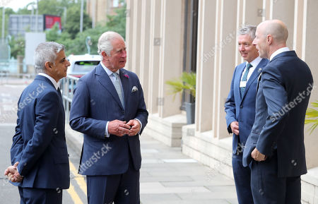Prince Charles with Mayor of London Sadiq Khan (L) meets Mike Brown MVO, Commissioner of Transport (second right) and Andy Byford, Commissioner of Transport as they arrive to speak with other key workers from Transport for London, who have worked throughout the Covid-19 pandemic