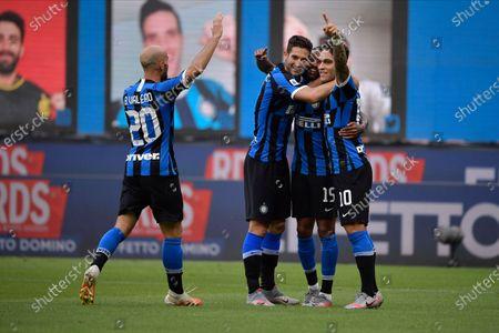 Roberto Gagliardini of FC Internazionale, Lautaro Martinez of FC Internazionale, Ashley Young of FC Internazionale, Borja Valero of FC Internazionale