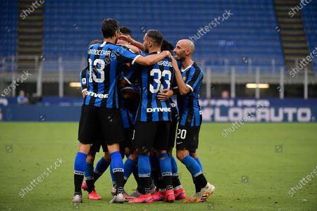 Andrea Ranocchia of FC Internazionale, Danilo D'Ambrosio of FC Internazionale, Borja Valero of FC Internazionale, Roberto Gagliardini of FC Internazionale