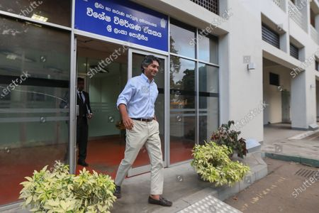 Stock Image of Former Sri Lankan cricketer Kumar Sangakkara, the national team's captain during the 2011 cricket world cup, leaves after giving a statement on allegations of match-fixing, at the Sri Lanka Police Special Investigations unit for sports-related corruption in Colombo, Sri Lanka, 02 July 2020. The former Minister of Sports of Sri Lanka, Mahindananda Aluthgamage, recently claimed that the final of the 2011 50-over Cricket World Cup was fixed.