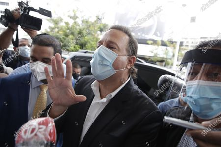Panamanian former President Juan Carlos Varela (2014-2019) arrives to appear at the Special Anti-Corruption Prosecutor's Office in the Odebrecht case, which summoned him to be questioned in an investigation for the alleged commission of the crime of money laundering, in Panama City, Panama, 02 July 2020.