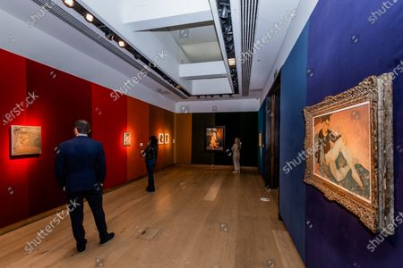 Glyn Warren Philpot, André Eglevsky (of the Russian Ballet), Estimate : GBP 50,000 - GBP 70,000 with other works in teh room - Christie's has now opened by appointment, only, in London and this week unveiled a Rainbow Room created by the jeweller Solange Azagury-Partridge, which is being created using fabric by Colefax and Fowler. Works from the online sale 'Dialogues: Modern & Contemporary Art' are installed in the room and the fabric will be donated to an NHS charity, that is creating 'Nest Rooms' in hospitals as respite spaces for staff on duty.