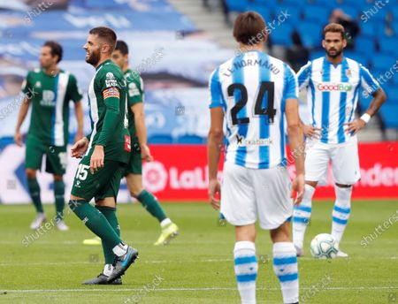 Espanyol's David Lopez (L) celebrates after scoring the opening goal during the Spanish LaLiga soccer match between Real Sociedad and Espanyol at Reale Arena stadium in San Sebastian, Basque Country, northern Spain, 02 July 2020.