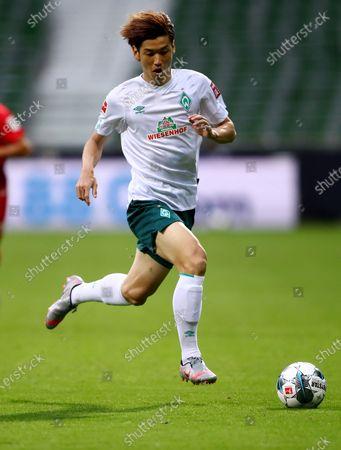 Yuya Osako of Bremen in action during the German Bundesliga relegation playoff, first leg soccer match between Werder Bremen and FC Heidenheim in Bremen, Germany, 02 July 2020.