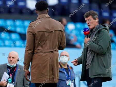 Former Manchester United player Roy Keane working as a TV commentator talks before the English Premier League match between Manchester City and Liverpool in Manchester, Britain, 02 July 2020.