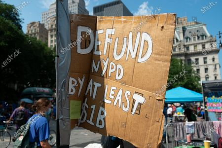 """Black Lives Matter protesters at the """"Occupy City Hall"""" movement in City Hall Park"""
