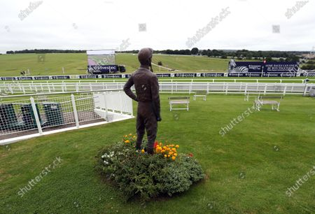Stock Photo of Lester Piggott statue at Epsom Racecourse. PA Photo. Issue date: Saturday July 4, 2020. See PA story RACING Epsom. Photo credit should read: David Davies/PA Wire, supplied by Hugh Routledge