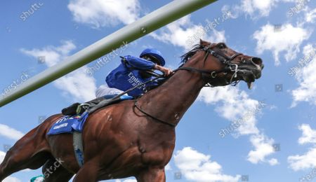Ghaiyyath ridden by William Buick on their way to winning the Coral-Eclipse at Sandown Park Racecourse. PA Photo. Issue date: Sunday July 5, 2020. See PA story RACING Sandown. Photo credit should read: David Davies/PA Wire, supplied by Hugh Routledge.