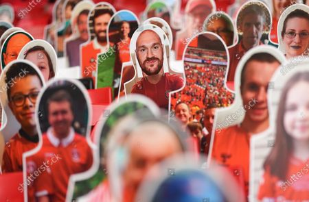 Tyson Fury amongst the cardboard cut outs of Charlton fans in the home end at The Valley
